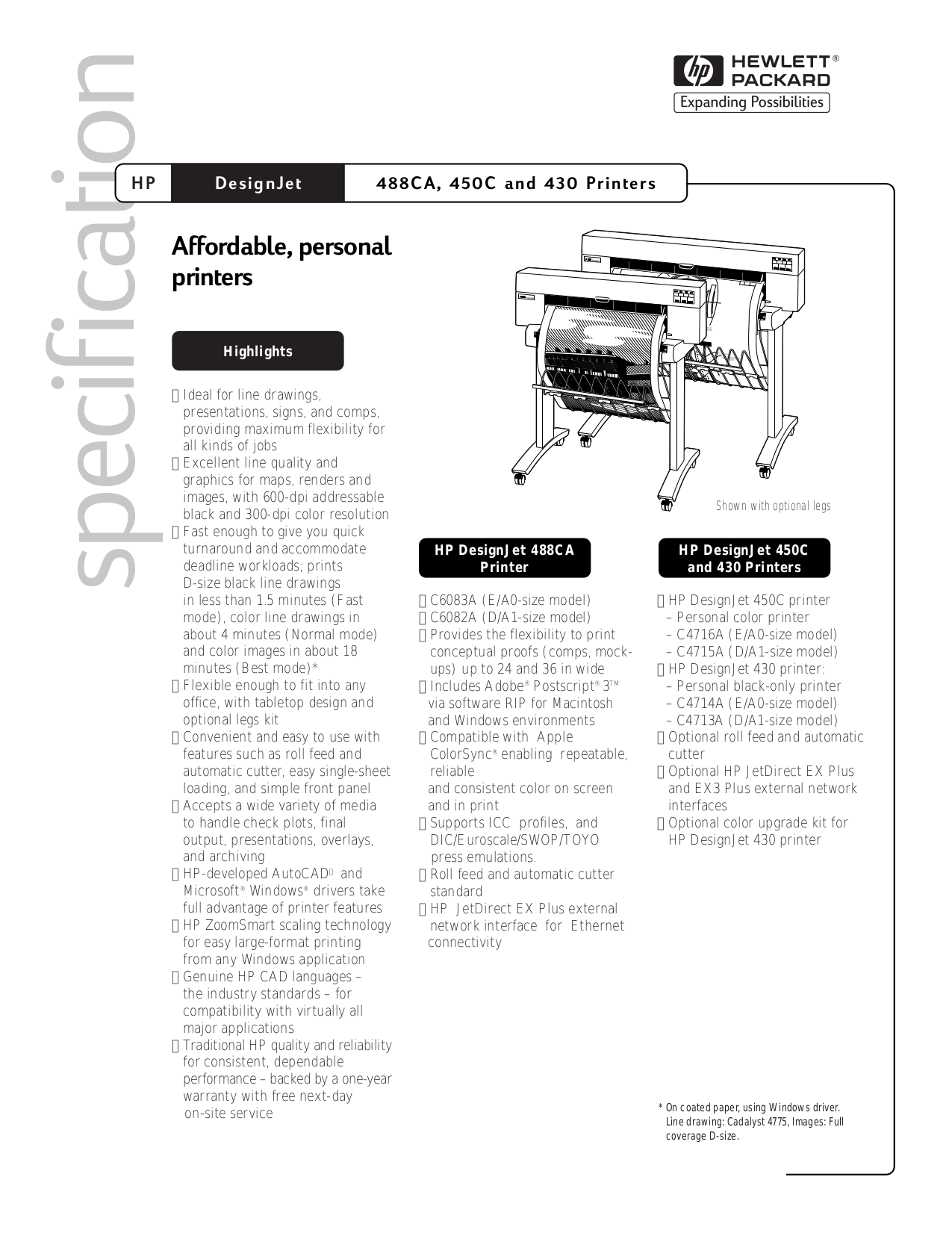 PDF manual for HP Printer Designjet 488ca